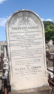 In Affectionate Remembrance headstone for Rev E. James c.1901