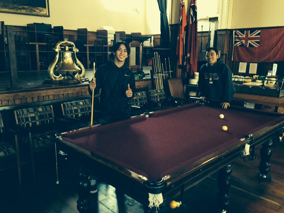 Michael Jay Melencio and Michael Orpilla Ponce from the MV Orchard Bulker came by the Mission to play some pool.